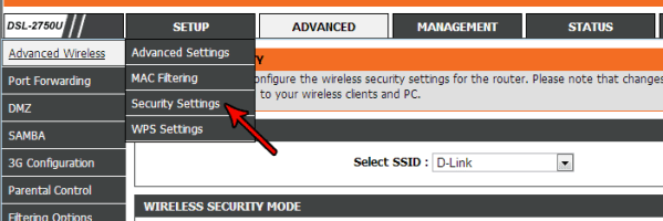 dlink-security-setting