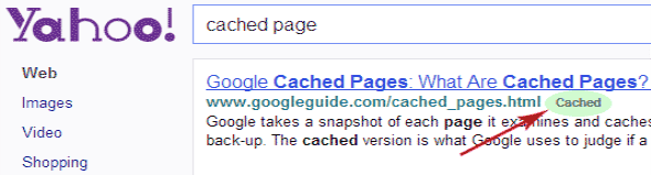 Yahoo-cached-webpage